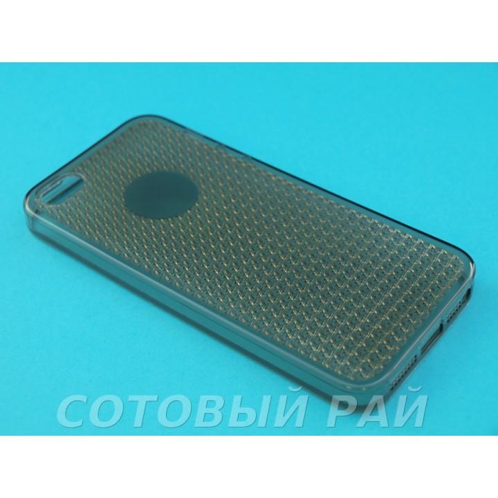Крышка Apple iPhone 5/5S Силикон с креплением (Черный)