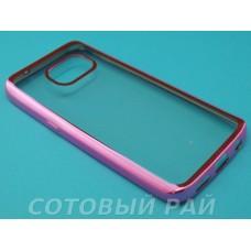Крышка Samsung G930f (Galaxy S7) Силикон с краями металлик (Розовый)