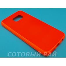 Крышка Samsung G935f (S7 Edge) Силикон Блестящий (Оранжевый)