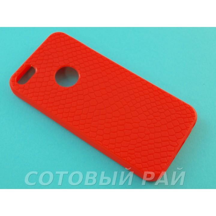 Крышка Apple iPhone 5/5S Силикон Крокодил (Красная)