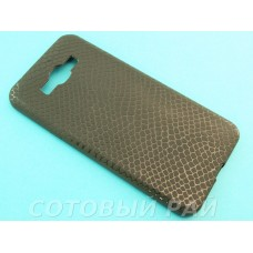 Крышка Samsung A800f (A8) Силикон Крокодил (Черная)