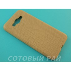 Крышка Samsung A800f (A8) Силикон Крокодил (Золотая)