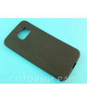 Крышка Samsung G925f (S6 Edge) Силикон Крокодил (Черная)