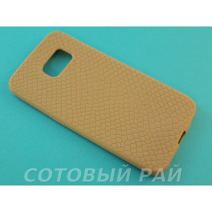 Крышка Samsung G925f (S6 Edge) Силикон Крокодил (Золотая)