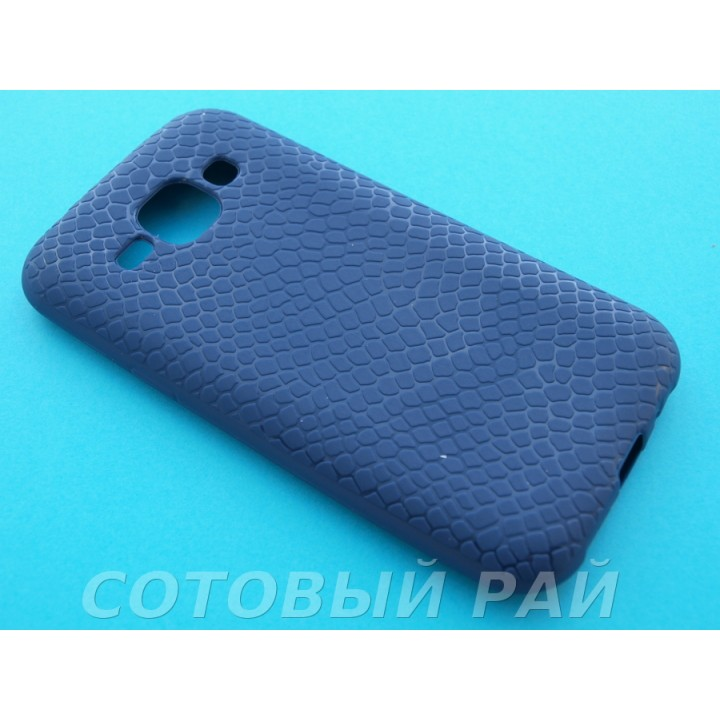 Крышка Samsung J100f (J1) Силикон Крокодил (Синяя)