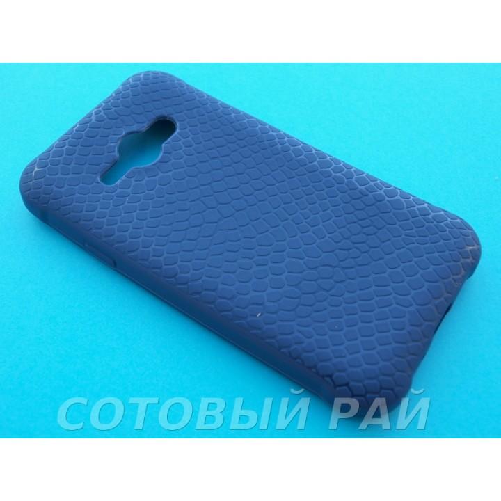 Крышка Samsung J110h (J1 Ace) Силикон Крокодил (Синяя)