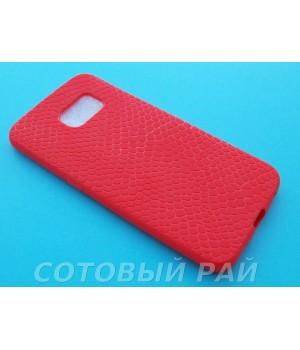 Крышка Samsung G925f (S6 Edge) Силикон Крокодил (Красная)