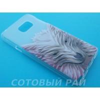 Крышка Samsung Note 5 Силикон Рельефный (Белый Волк)
