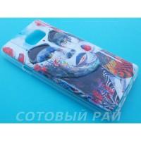 Крышка Samsung Note 5 Силикон Рельефный (Девушка)