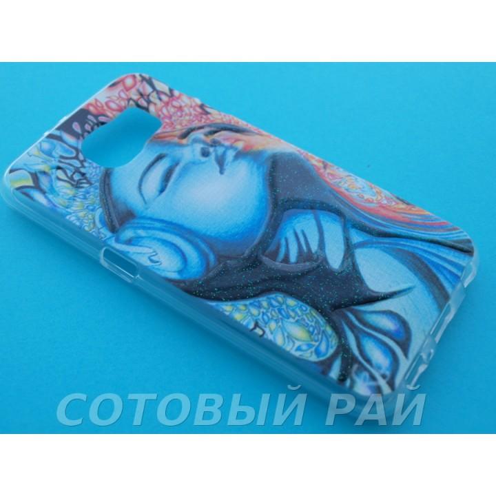 Крышка Samsung G920f (S6) Силикон Рельефный (Девушка в наушниках)