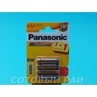 Батарейки Panasonic Alkaline мизинчиковые AAA (4 штуки) Целлофан