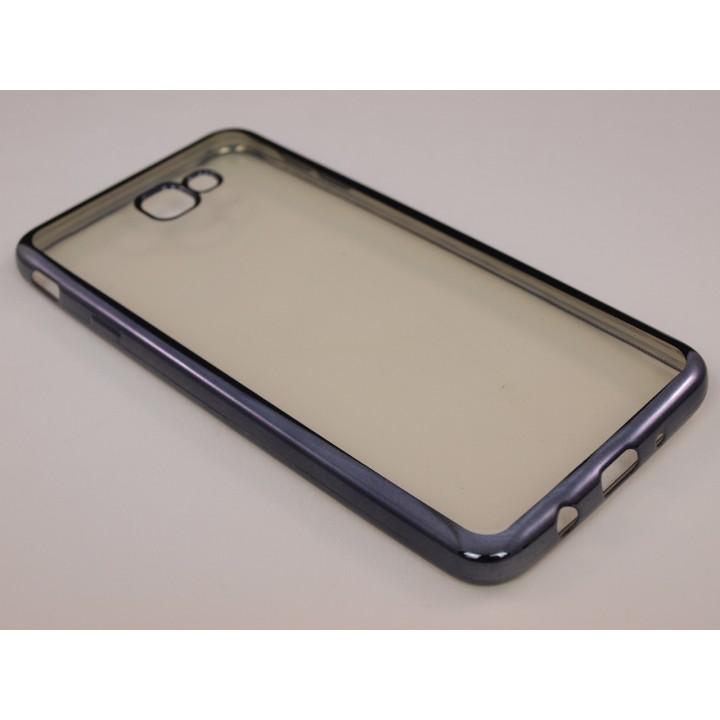 Крышка Samsung G610f (J7 Prime) Силикон с краями металлик (Черная)