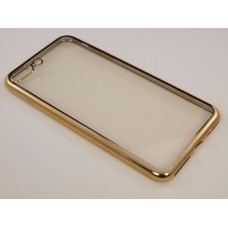 Крышка Apple iPhone 7 Plus Силикон с краями металлик (Золотая)