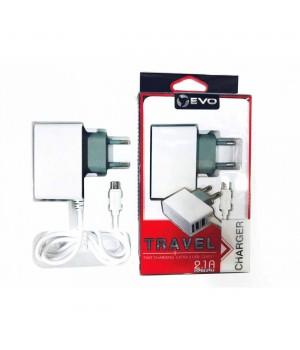 Сетевое Зарядное Устройство Evo Micro Usb KW-200 (2,1A + 2 доп разъема)