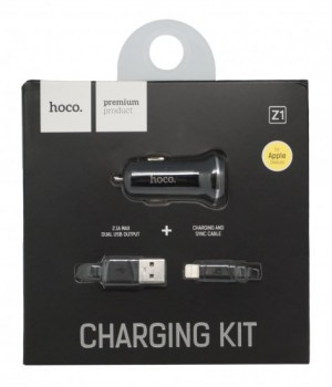 Азу Hoco Apple Lightning 8 pin 2Usb, 2,1A (Z1 Car Charger Set)