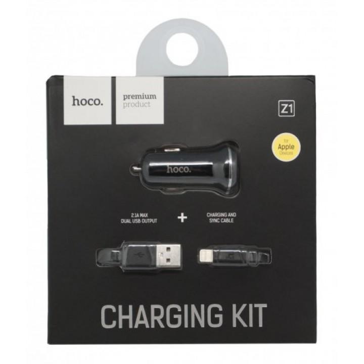 Азу Hoco Apple Lightning 8 pin 2Usb, 2,1A (Z1 Car Charger Set)