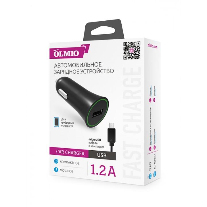 АвтомоБильное зарядное устройство Olmio + каБель Micro Usb (1,2A)