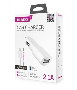 АвтомоБильное зарядное устройство Olmio + каБель lightning 8 pin (2,1A)