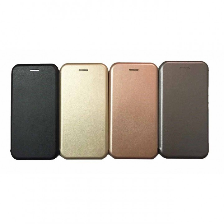 Чехол-книжка Samsung A530f ( A8 2018 ) Бок Круглые Края (Черная)