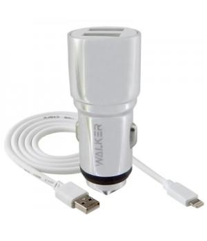 АвтомоБильное ЗУ Walker 2 Usb разъема (2,1А) + каБель Apple Lightning 8pin
