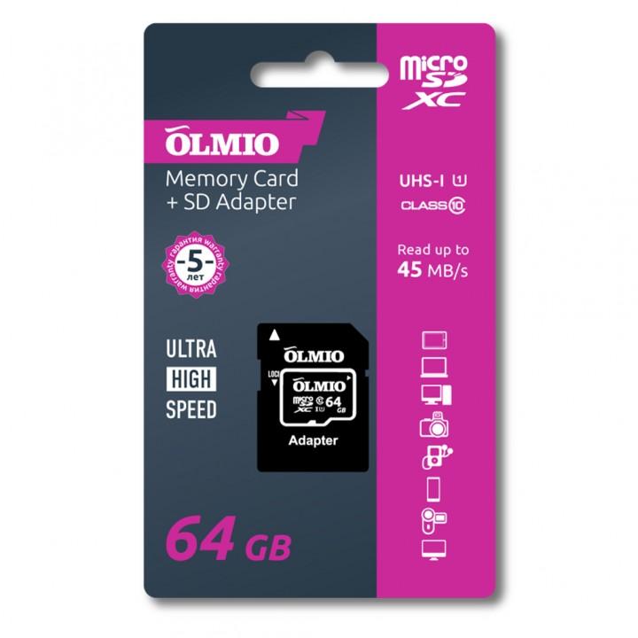 Карта памяти MicroSD Olmio 64 Gb Class 10 (+ад) UHS-I