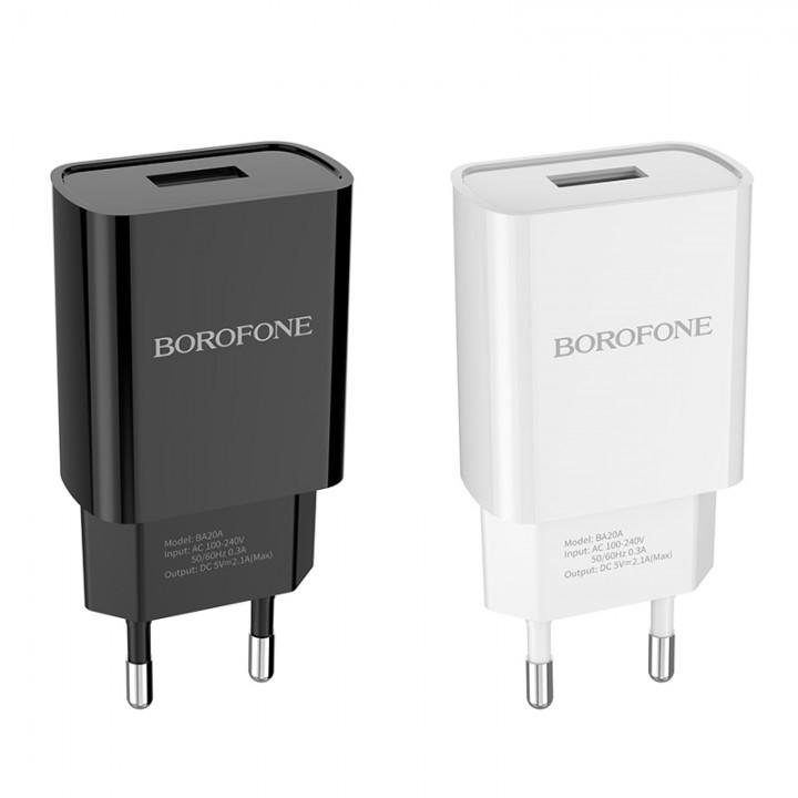 Блок питания сетевой с выходом Usb 2 Ампера Borofone BA20A Sharp (10,5 W)