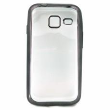 Крышка Samsung J327t (J3 Prime) С краями металлик (Черная)