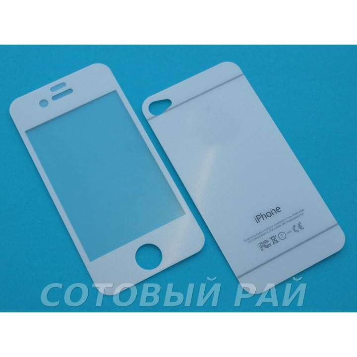 Защитное стекло Apple iPhone 6 Зеркало с Блестками (ГолуБое) (Перед+Зад)