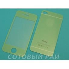 Защитное стекло Apple iPhone 4/4S Зеркало с Блестками (Зеленое) (Перед+Зад)