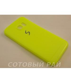 Крышка Samsung G925f (S6 Edge) Paik Силикон (Желтая)