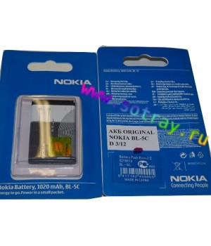 Аккумулятор Nokia BL-5C 1100 , 3100 , 6600 , 7610 , 3110c (1020mAh) Original