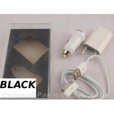 Комплект Зарядок iPhone 3 в 1 Black